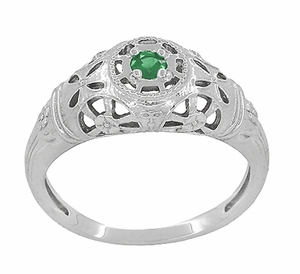 Art Deco Filigree Emerald Ring in Platinum - Item R428PE - Image 2