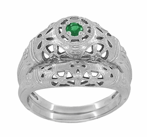 Art Deco Filigree Emerald Ring in Platinum - Item R428PE - Image 6