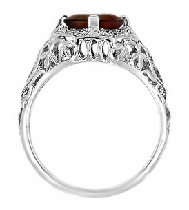 Art Deco Flowers and Leaves Almandine Garnet Filigree Ring in 14 Karat White Gold - Click to enlarge