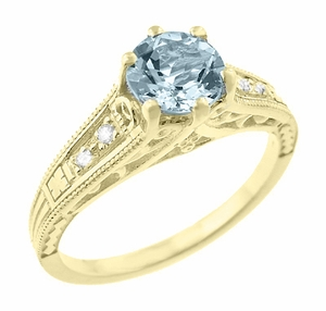 Art Deco Antique Style Aquamarine and Diamond Filigree Engagement Ring in 14 Karat Yellow Gold - Item R158YA - Image 1