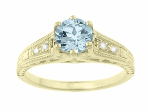 Art Deco Antique Style Aquamarine and Diamond Filigree Engagement Ring in 14 Karat Yellow Gold - Click to enlarge