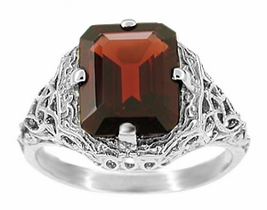 Art Deco Flowers and Leaves Almandine Garnet Filigree Ring in Sterling Silver - Item SSR16G - Image 1