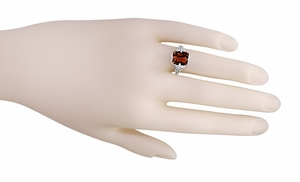 Art Deco Flowers and Leaves Almandine Garnet Filigree Ring in Sterling Silver - Click to enlarge