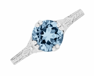 Art Deco Filigree Flowers and Wheat Engraved Aquamarine Engagement Ring in 18 Karat White Gold - Item R356W75A - Image 4