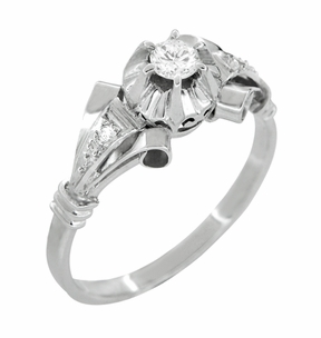 Retro Moderne Diamond Antique Engagement Ring in Platinum - Item R1051 - Image 1