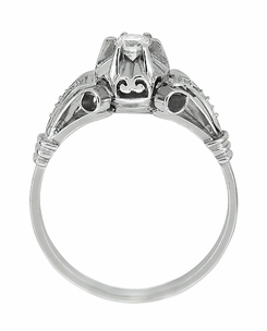 Retro Moderne Diamond Antique Engagement Ring in Platinum - Click to enlarge