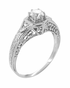 Art Deco White Sapphire Filigree Engraved Engagement Ring in 14 Karat White Gold - Item R149WS - Image 2