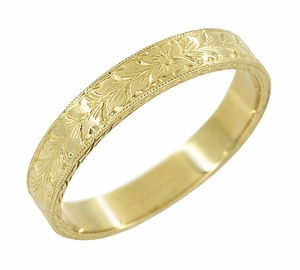 Mens Art Deco Engraved Antique Wheat Wedding Ring in 14 Karat Yellow Gold - Item MR858YND - Image 1