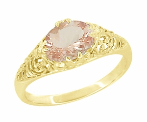 Morganite East West Oval Filigree Edwardian Engagement Ring in 14 Karat Yellow Gold - Item R799YM - Image 1