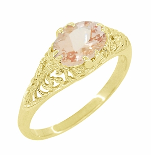 Morganite East West Oval Filigree Edwardian Engagement Ring in 14 Karat Yellow Gold - Item R799YM - Image 2