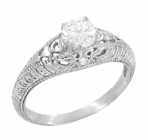 Art Deco Hearts and Diamonds 1/2 Carat Diamond Filigree Engagement Ring in 14 Karat White Gold - Click to enlarge