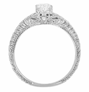 Art Deco Hearts and Diamonds 1/2 Carat Diamond Filigree Engagement Ring in 14 Karat White Gold - Item R627WD - Image 3