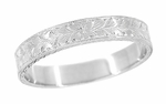 Mens Art Deco Engraved Wheat Wedding Ring in Sterling Silver