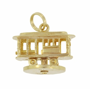 Moveable Vintage Tiffany and Co. Trolley Car Pendant Charm in 14 Karat Yellow Gold - Click to enlarge
