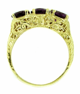 Amethyst Trio Filigree Ring in 14 Karat Yellow Gold - Click to enlarge