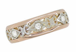Filigree Diamond Antique Wedding Ring in 14 Rose ( Pink ) and White Gold - Size 6 1/2 - Click to enlarge