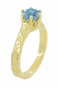 Art Deco Crown Filigree Scrolls 1 Carat Aquamarine Engraved Engagement Ring in 18 Karat Yellow Gold - Click to enlarge