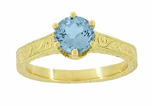 Art Deco Crown Filigree Scrolls 1 Carat Aquamarine Engraved Engagement Ring in 18 Karat Yellow Gold - Item R199Y1A - Image 4