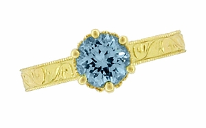 Art Deco Crown Filigree Scrolls 1 Carat Aquamarine Engraved Engagement Ring in 18 Karat Yellow Gold - Item R199Y1A - Image 5