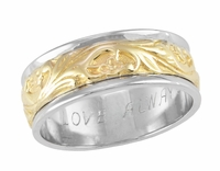 Art Nouveau Mens Vintage Wedding Ring in Two Tone 14 Karat Gold
