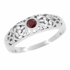 Filigree Ruby Ring in Sterling Silver