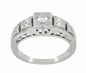 Art Deco Carved Filigree Diamond Engagement Ring in Platinum - Item R160P - Image 2