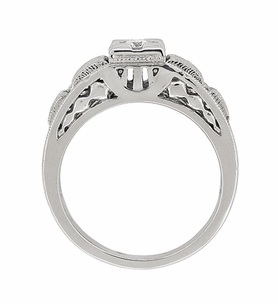Art Deco Carved Filigree Diamond Engagement Ring in Platinum - Item R160P - Image 4