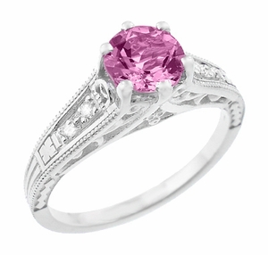 Art Deco Filigree Vintage Style Pink Sapphire and Diamond Platinum Engagement Ring - Item R158PSP - Image 1