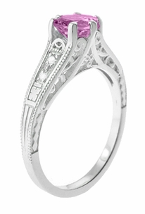 Art Deco Filigree Vintage Style Pink Sapphire and Diamond Platinum Engagement Ring - Item R158PSP - Image 2