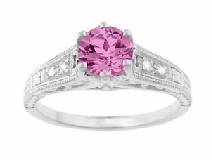Art Deco Filigree Vintage Style Pink Sapphire and Diamond Platinum Engagement Ring - Item R158PSP - Image 4