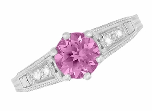 Art Deco Filigree Vintage Style Pink Sapphire and Diamond Platinum Engagement Ring - Click to enlarge