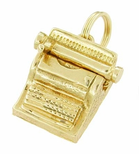 Movable Typewriter Charm in 14 Karat Gold - Click to enlarge