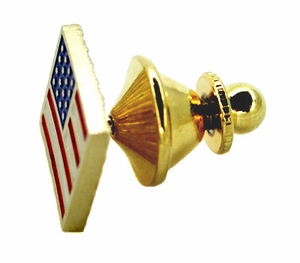 Enameled American Flag Pin in 14 Karat Gold - Item BR101 - Image 1