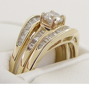 Estate Baguettes Diamond Engagement Ring and Double Hugger Wedding Set in 14 Karat Gold - Click to enlarge