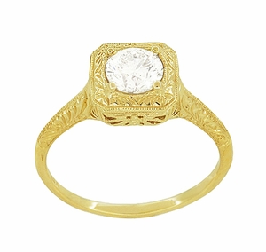 Filigree Scrolls Vintage Engraved 3/4 Carat Diamond Art Deco Engagement Ring in 14 Karat Yellow Gold - Item R183Y1D - Image 1