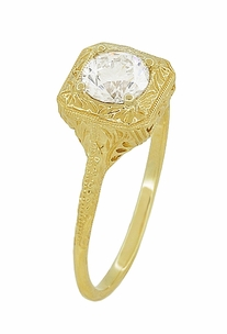 Filigree Scrolls Vintage Engraved 3/4 Carat Diamond Art Deco Engagement Ring in 14 Karat Yellow Gold - Item R183Y1D - Image 2