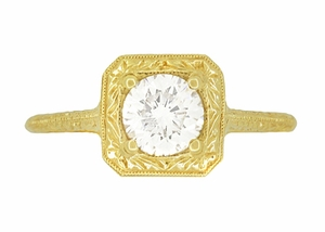 Filigree Scrolls Vintage Engraved 3/4 Carat Diamond Art Deco Engagement Ring in 14 Karat Yellow Gold - Item R183Y1D - Image 3
