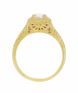 Filigree Scrolls Vintage Engraved 3/4 Carat Diamond Art Deco Engagement Ring in 14 Karat Yellow Gold - Item R183Y1D - Image 4