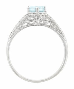 Art Deco Engraved Scrolls and Wheat Aquamarine Solitaire Engagement Ring in 18 Karat White Gold - Item R688WA - Image 2