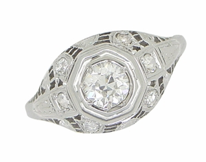 Art Deco Antique Diamond Filigree Engagement Ring in 18 Karat White Gold - Item R866 - Image 3