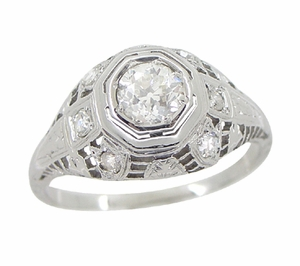 Art Deco Antique Diamond Filigree Engagement Ring in 18 Karat White Gold - Item R866 - Image 4