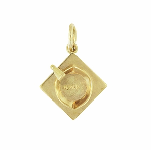 Vintage Graduation Cap Charm in 14 Karat Yellow Gold - Click to enlarge