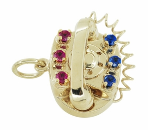 Movable Gemstone Set Telephone Charm in 14 Karat Yellow Gold - Click to enlarge