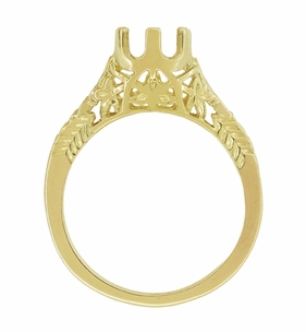 Art Deco 3/4 - 1 Carat Crown of Leaves Filigree Engagement Ring Setting in 18 Karat Yellow Gold - Click to enlarge