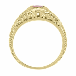 Art Deco Engraved Pink Sapphire and Diamond Filigree Engagement Ring in 18 Karat Yellow Gold - Click to enlarge
