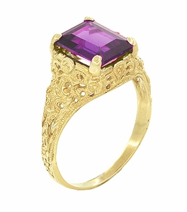 Edwardian Filigree Emerald Cut Amethyst Engagement Ring in 14 Karat Yellow Gold - Item R618YAM - Image 1
