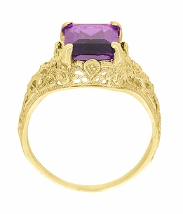 Edwardian Filigree Emerald Cut Amethyst Engagement Ring in 14 Karat Yellow Gold - Item R618YAM - Image 2