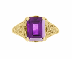 Edwardian Filigree Emerald Cut Amethyst Engagement Ring in 14 Karat Yellow Gold - Click to enlarge