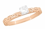 Art Deco Scrolls White Sapphire Engagement Ring in 14 Karat Rose Gold