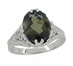 Edwardian Filigree Leaves Oval Green Tourmaline Ring in 14 Karat White Gold - Click to enlarge